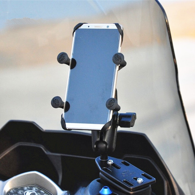 """Motorcycle 1"""" Rubber Ball Motorcycle pump mount base+Ball Head Socket Arm + Universal X-Grip Cell Phone Holder For GPS Phone"""