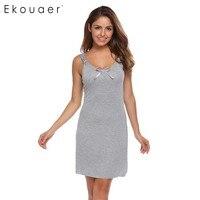 Ekouaer Casual Bow Sleepwear 2017 Summer Fashion Slim Nightwear Women Spaghetti Strap Sleeveless Solid Nighties Sleepwear