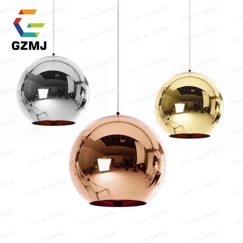 Modern Copper/Sliver/Gold Shade Copper Inside Mirror Chandelier Light E27 Bulb LED Pendant Lamp Glass Ball indoor Home Lighting