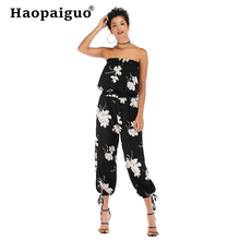 Summer Chiffon Patchwork Jumpsuit Women Sexy Off Shoulder Slash Neck Long Sleeve Elegant Slim Wide Leg