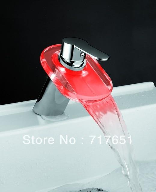 Single Handle Waterfall Multicolor LED Glass Faucet Chrome Bathroom Sink HOT!!