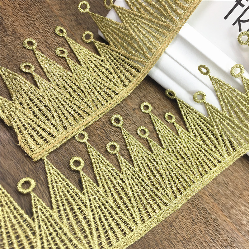 2yard 6.8cm Gold Embroidered Lace Trim Applique Embroidery crown Dentelle Lace Ribbon Sewing Accessories Encaje TR0019