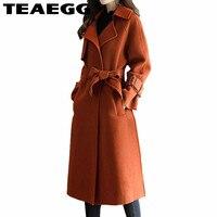 TEAEGG Woolen Autumn Winter Jacket Casual Wool Trench Coat Outwear Adjustable Manteau Femme Brown Long Coat Women Clothes AL1267