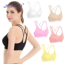JUYABEI Women Cross Strap Sports Bra Girls Fitness Yoga Running Breathable Underwear Vest Wire Free Padded Quick-Drying 6 Colors