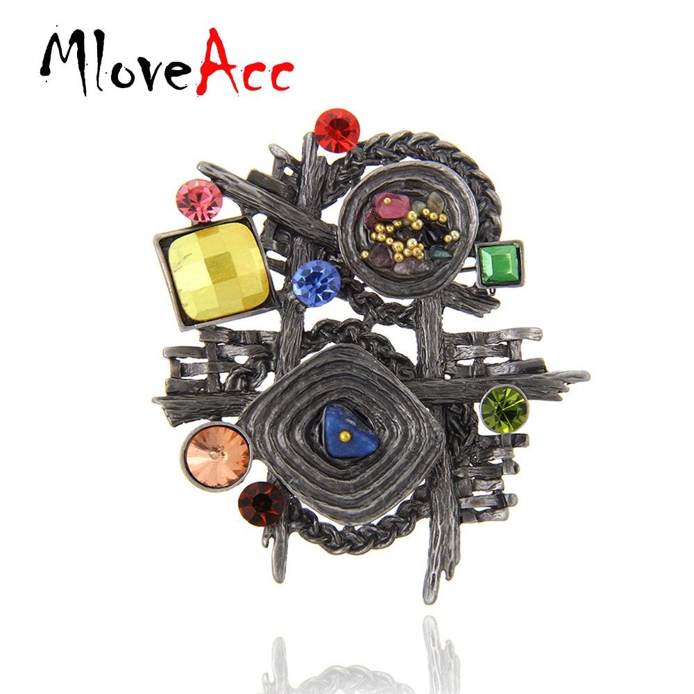 Broche de bufanda de piedra multicolor MloveAcc Broches vintage para mujer Broche geométrico irregular étnico retro antiguo Joyas