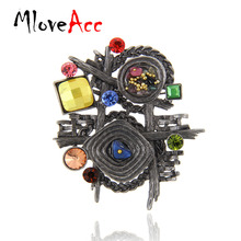 MloveAcc Multicolor Stone Scarf Clip Vintage Brooches for Women Antique Ethnic Retro Irregular Geometric Brooch Jewelry(China)