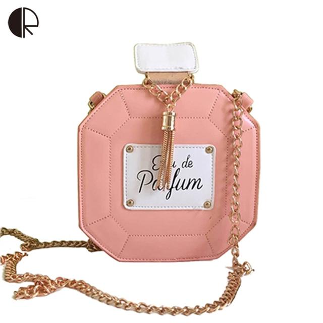 Women Luxury Pink Perfume Bottles Chains Handbags Ladies Frame Day Clutch Wedding Party Evening Bag Brand Design Flaps BS538
