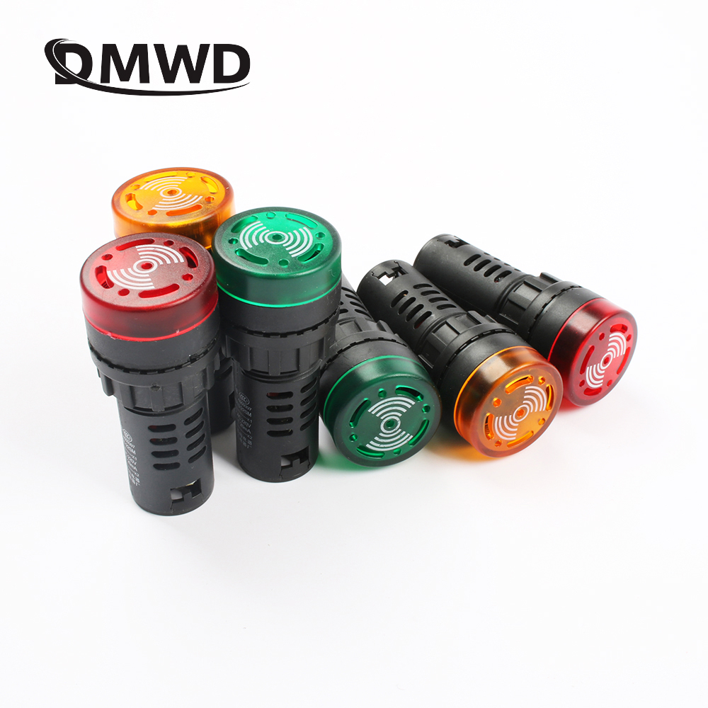 20pcs/ Lot AD16-22SM 22mm 12V 24V 110V 220V Flash Signal Light Red Warning Buzzer Beep Alarm Industrial Plastic Indicator Switch