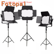 Fotopal GK-J-900S 3Pcs LED Video Light Kit LED Photo Photographic Camera Light Annular Lamp With Tripod For Camera Photo Phone samtian video light tl 600s 2sets led video photo studio light kit dimmable 600pcs led panel lamp with tripod for photographic