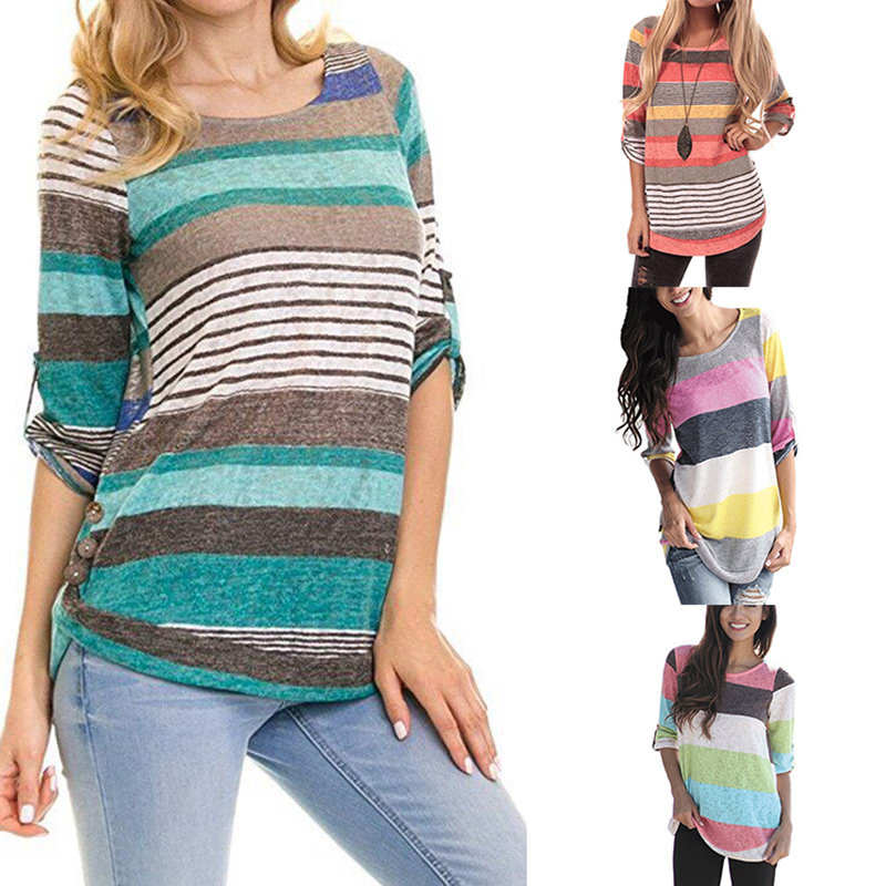 2019 Female T-shirt Plus Size Women's Top Clothes for Pregnant Women Striped Fashion t shirts Maternity Button Sleeves Clothing