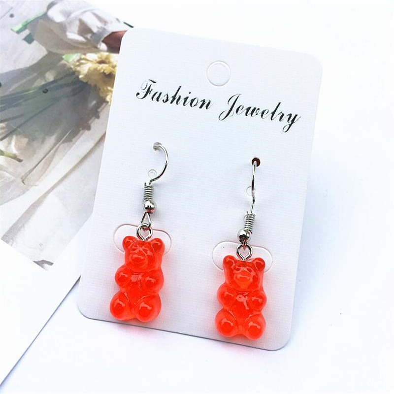 resin Handmade romantic creative cute bear earrings women romantic oso Pendien brincos novelty Childlike bijoux femme girl gifts