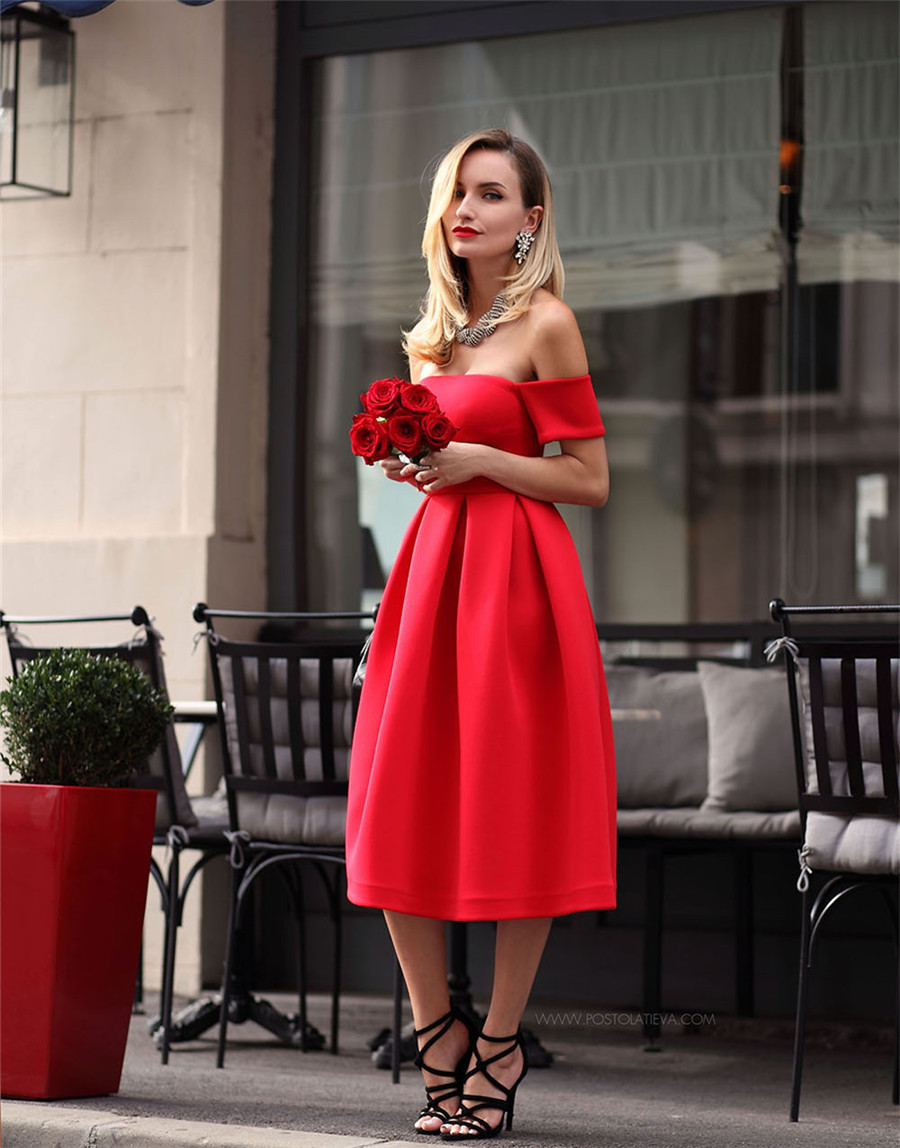 Elegant Short Red   Bridesmaid     Dresses   Boat Neck Off The Shoulder Tea Length Simple   Bridesmaid   Wedding Party   Dress   2019 New