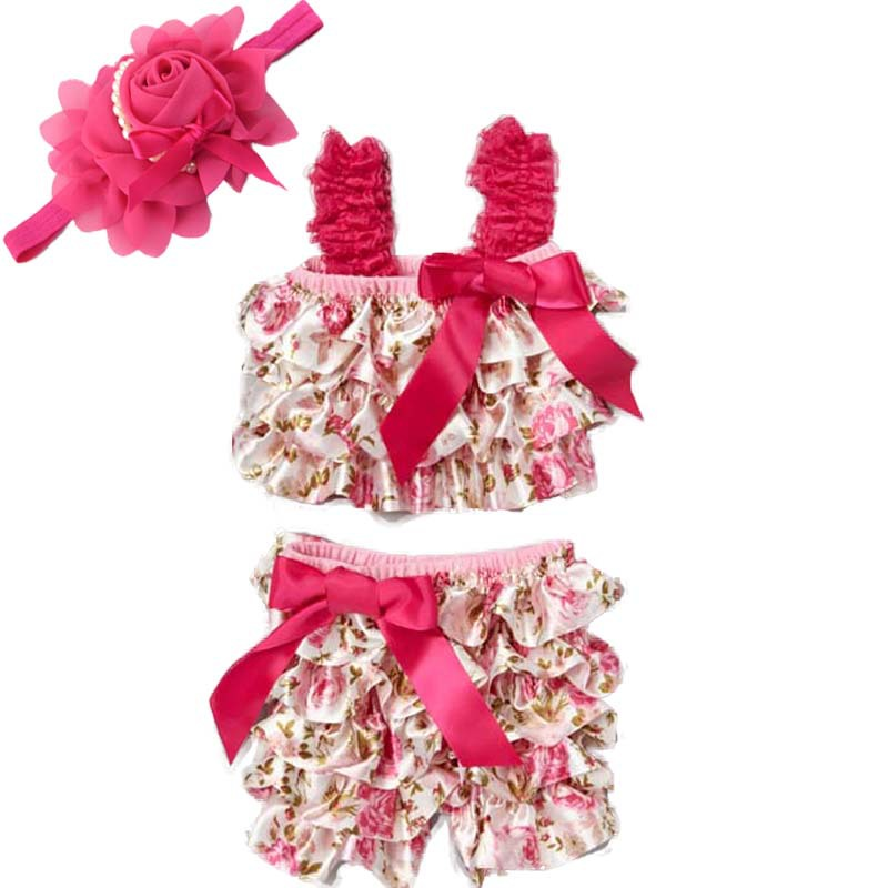 Baby Clothes Fashion Princess Girl Pink Floral Satin Romper Set With red Hair Band Newborn Rose Pettitop And Short Pants Set 3pcs set newborn infant baby boy girl clothes 2017 summer short sleeve leopard floral romper bodysuit headband shoes outfits