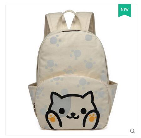 Korean version of the sweet painted canvas shoulder bag leisure travel light backpack student bag female 2017 new new korean female bag canvas backpack personality badge backpack leisure student schoolbag