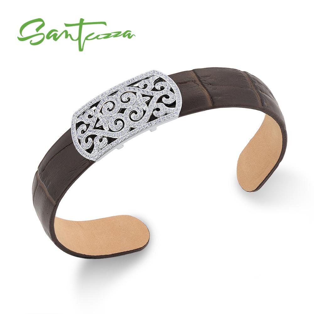 SANTUZZA Silver Bracelet Bangle for Women Men 925 Sterling Silver Adjustable Bangle Brown Genuine Leather Chic Fashion Jewelry chic faux leather woven bracelet for men