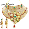 New Maxi India Crystal&Rhinestones Stunning Kundan Style Necklace Flower Shape Statement Necklace For Women Important Occasion
