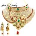 Novo Maxi India Crystal & Rhinestones Kundan Deslumbrante Colar Estilo Flor Forma Colar Apelativo Para As Mulheres Ocasião Importante