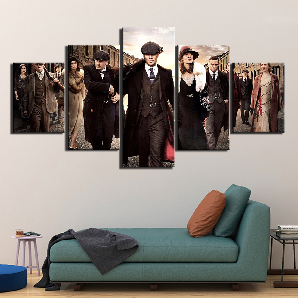 5 Panel HD Print Painting Peaky Blinders Canvas Wall Art 5 Piece Movie Poster Picture Home Decoration Print F2939