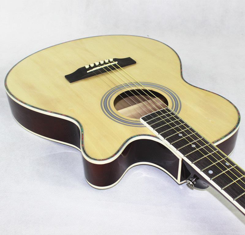Guitare Acoustique Électrique En Acier-Chaîne Mince Corps Flattop Ballades Folk Pop 40 Pouces Guitarra 6 Chaîne Rouge Lumière Coupe électro