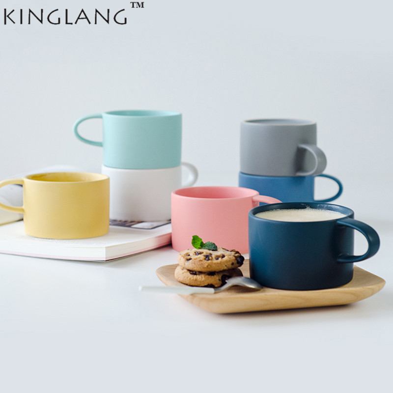 KINGLANG Nordic style Beautiful Macaroon colors solid mug coffee lovers cups for gifts