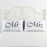 2 pcs Pillowcase Lover White Mr Mrs Printed Polyester Bedding Pillow Case 74*48cm Bedding Sets Case|Pillow Case| |  -
