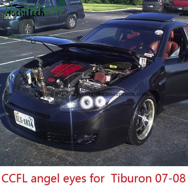 For Hyundai Tiburon 2007 2008 Car Styling 4pcs White Headlight Halo Rings Ccfl Angel Eyes Light