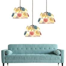 hot deal buy european shaded glass pendant lights e27 bulb living room dining room pendant lamps single head led lustre light pendant lamp z5