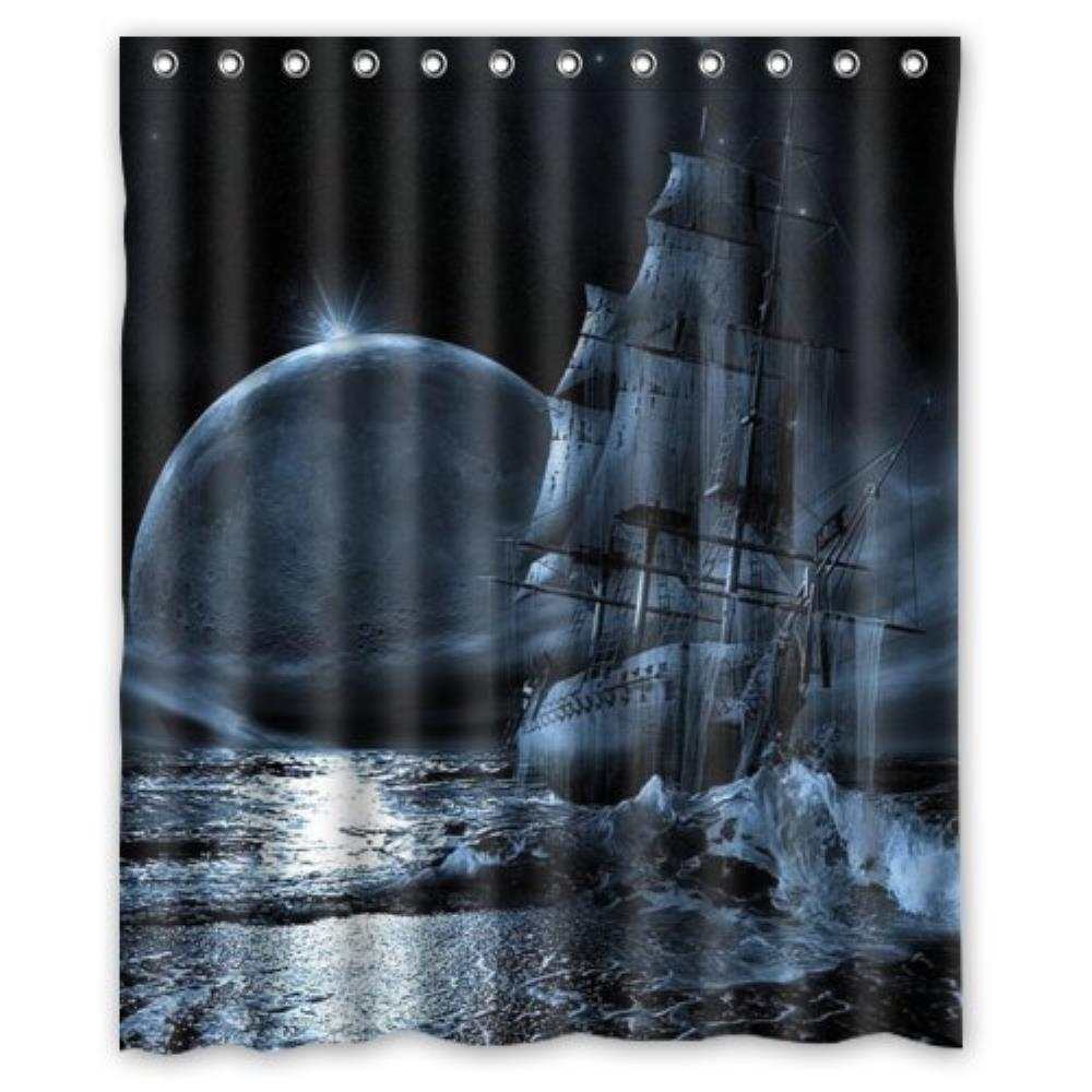 Jolly roger shower curtain - Nautical Vintage Sailing Pirate Ship Theme Polyester Bathroom Custom Shower Curtain Bathroom Decor Polyester Shower Curtain 60 W