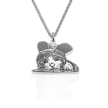 AILIN Pet Silhouette Necklace Sterling Silver Photo Engraved Memorial Jewelry