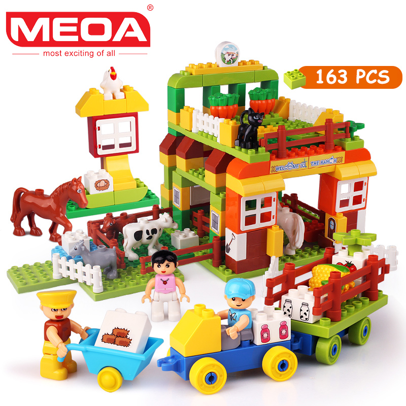 MEOA 163pcs Large Building Blocks My Town Model Building Kits Educational Toys For Children Compatible With Duplo Brick DT1625 kid s home toys large particles circus show animal paradise building blocks large size 39pcs diy brick toy compatible with duplo