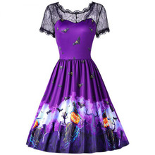 2019 Women Dress Halloween Vintage Black Lace Short Sleeve Bat Printed Evening Party Dresses 2XL Costumes for