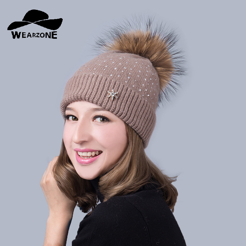 2017 Wool Raccoon Fox Fur Pom Poms Winter Hats Asymmetry High Quality Knitted Vogue Warm Casual Hat Female Skullies Beanies skullies beanies newborn cute winter kids baby hats knitted pom pom hat wool hemming hat drop shipping high quality s30