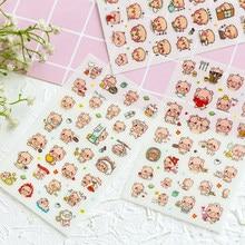 6 pçs/lote animal bonito porco papel adesivo diy decorativo diário scrapbooking planejador adesivos kawaii artigos de papelaria material escolar