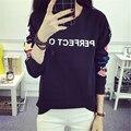 Corea Nuevos Estudiantes de Moda de Lana de Cuello Redondo Mujeres Camiseta de Manga Larga Camiseta Ocasional Femenina Carta Suelta de Impresión Chándal