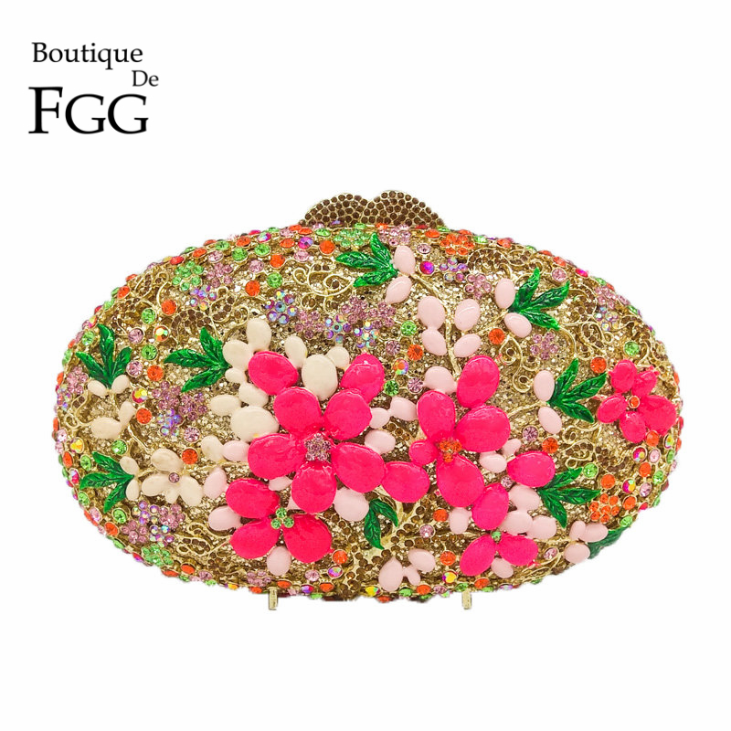 Multi Flower Crystal Clutch Evening Bag For Women Party Gold Metal Clutches Wedding Handbags and Purses Bridal Clutch Hand Bag
