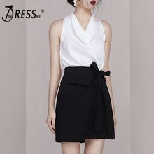 цена на INDRESSME 2019 New Two Piece Sets Fashion V Neck Sleeveless Top Sexy Office With Lace Up Mini Black Skirt Casual Sets