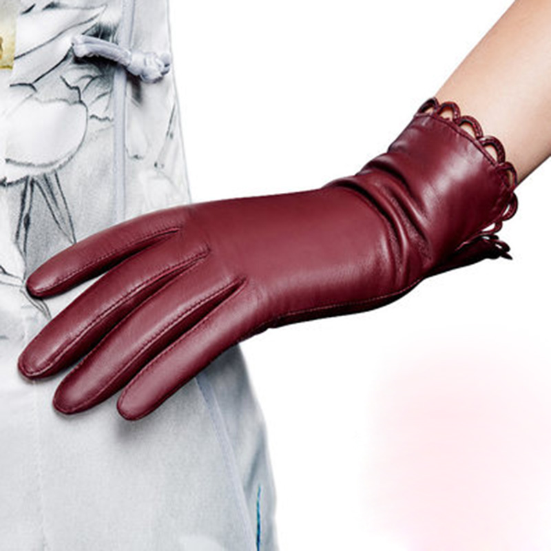 Thermal Winter Velvet Lining Finger Driving Glove Genuine Leather Gloves Fashion Trend Women Sheepskin Gloves NW671-5