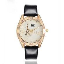 Creative Unisex Watch Men Ms Iron Tower Leather Band Watches Sport Analog Quartz Date Wrist Watch Quartz Watch Women