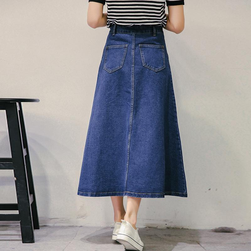 Denim Midi Skirt - Skirts