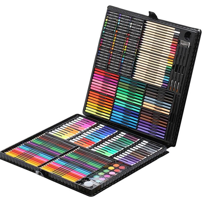 258 pièces ensemble pour dessiner Enfants Peinture Art Set Kit Crayon De Couleur Crayon Aquarelle École Fournitures D'art Pinceau Pour Dessin