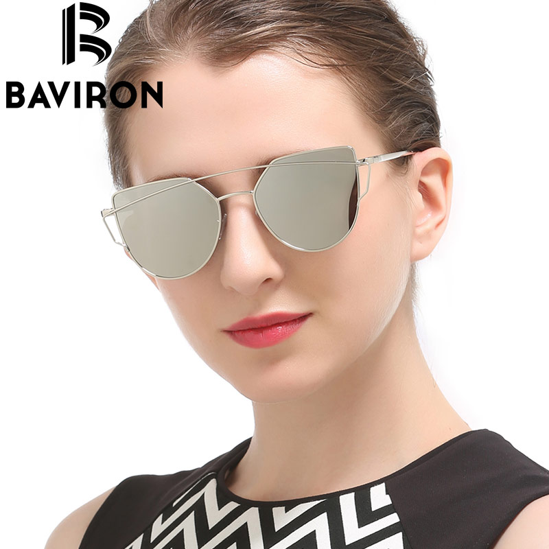 BAVIRON Cat Eye Sunglasses Metal Women Mirrored Reflection Lenses Sunglasses Unisex High font b Fashion b