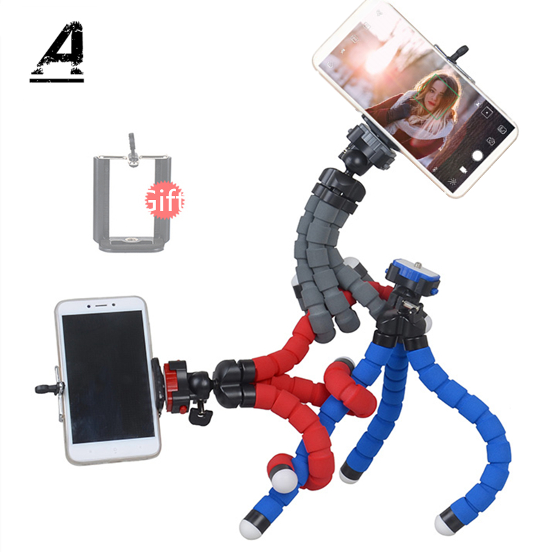 Flexible Sponge Octopus Mini Tripod Mobile With Cell Phone Clip For Cameras of 6 Inches and Below Holde