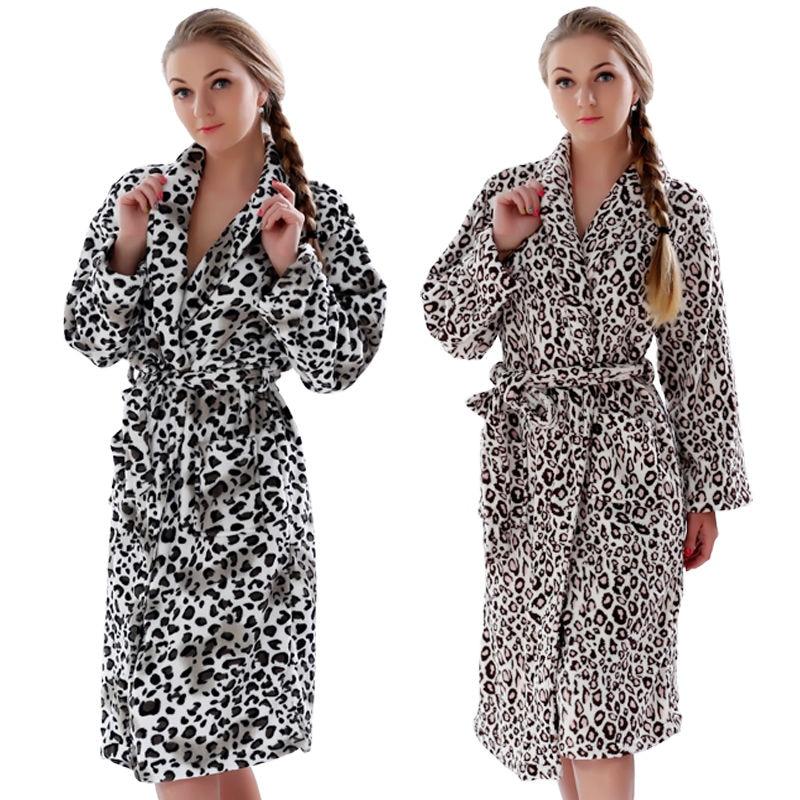 Kvinnor Plus Size Leopard Coral Fleece Varm badrock Nattkläder Kimono klänningskläder Nattkläder badrock för damer