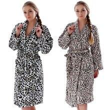 Women Plus Size Leopard Coral Fleece Warm Bathrobe Nightwear Kimono Dressing Gown Sleepwear Bath Robe For