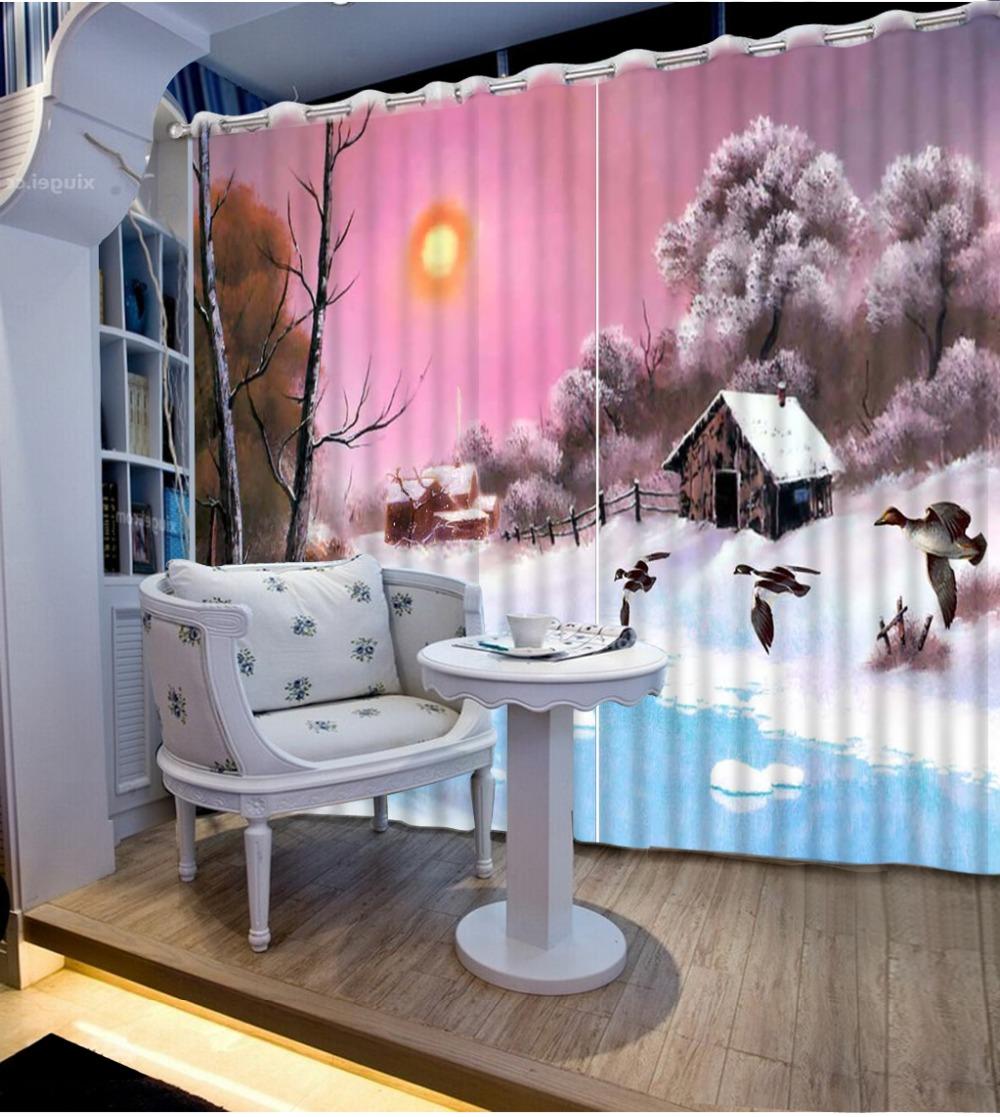 Noenname null hochwertige 3d druck vorhänge chinese luxus 3d fenster vorhänge schlafzimmer wohnzimmer cortinas cl dlm068
