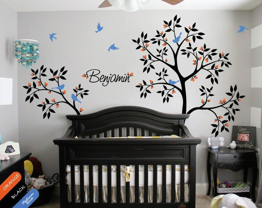 Personalized Tree Wall Decal Name Decal Wall Mural Sticker Trees Nature DIY  Removable Size 55.9x82.7inches 32.7x58.3inches