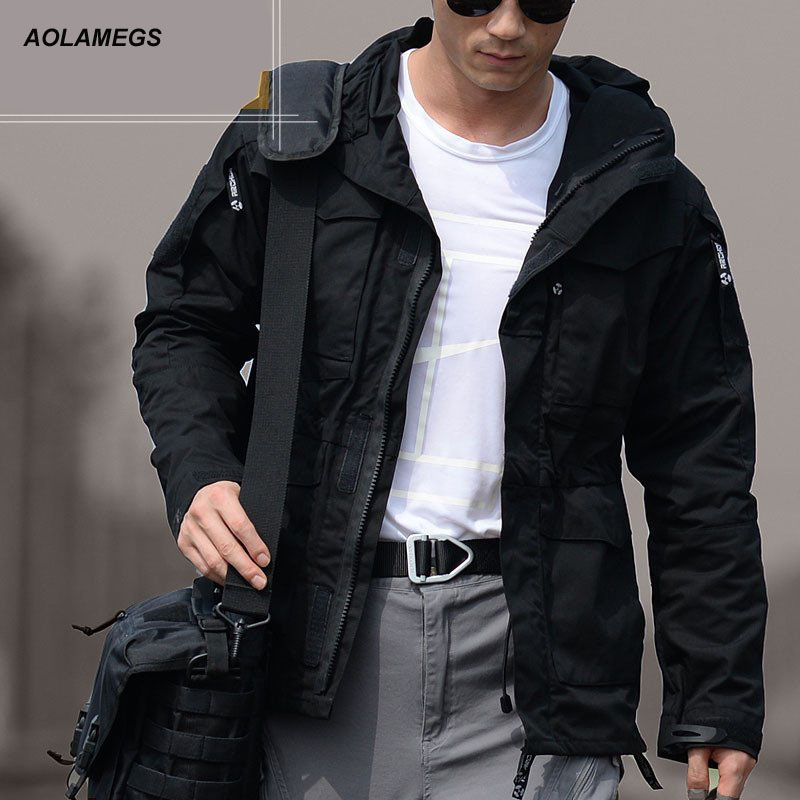 Aolamegs mannen tactische jas m65 uk us army kleding windjack casual vlucht piloot jas hoodie militaire veld size s-xl jaqueta