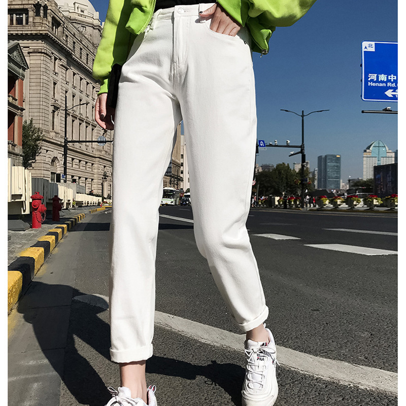 Free shipping 2019 New Slim Pencil Pants Vintage High Waist   Jeans   new womens pants full length pants loose cowboy pants C1333