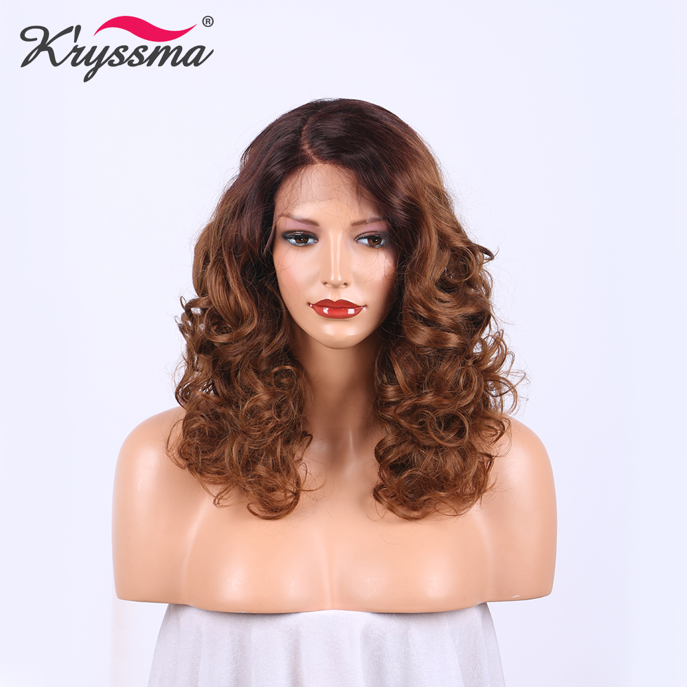 Deep Parting Brown Long Wig Two Tone Dark Roots Ombre Synthetic Lace Front Wigs for Women