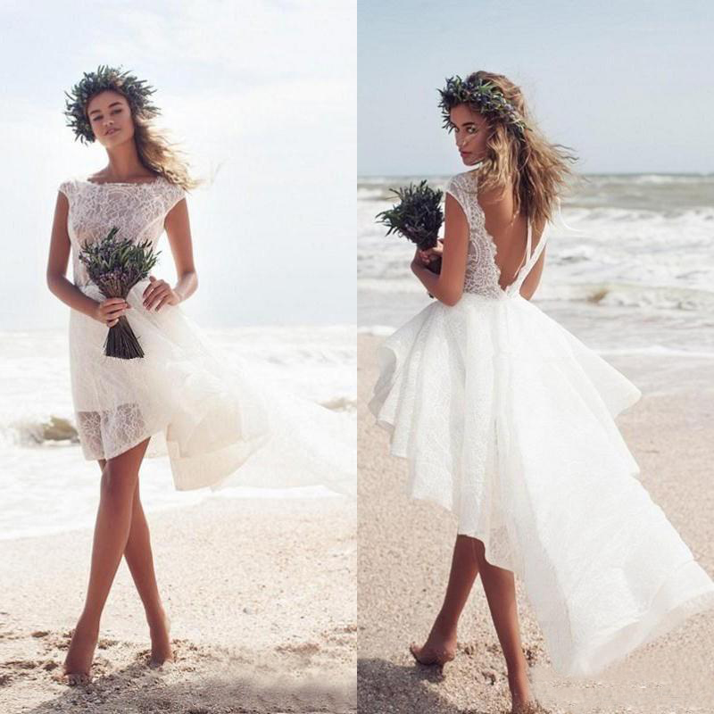Short Summer Beach Wedding Dress 2019 Boho High Low Ivory Lace Wedding Gowns Backless Cap Sleeve Bohemian Cheap Bridal Dress